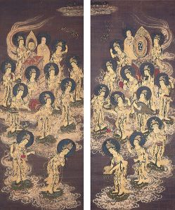498px-Twenty-Five_Bodhisattvas_Descending_from_Heaven,_c._1300