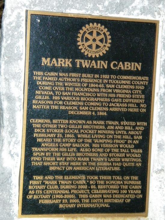 Mark Twain Plaque on Jackass Hill